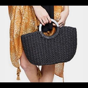 Black Knit Tote HandBag With Silver Oval Handle